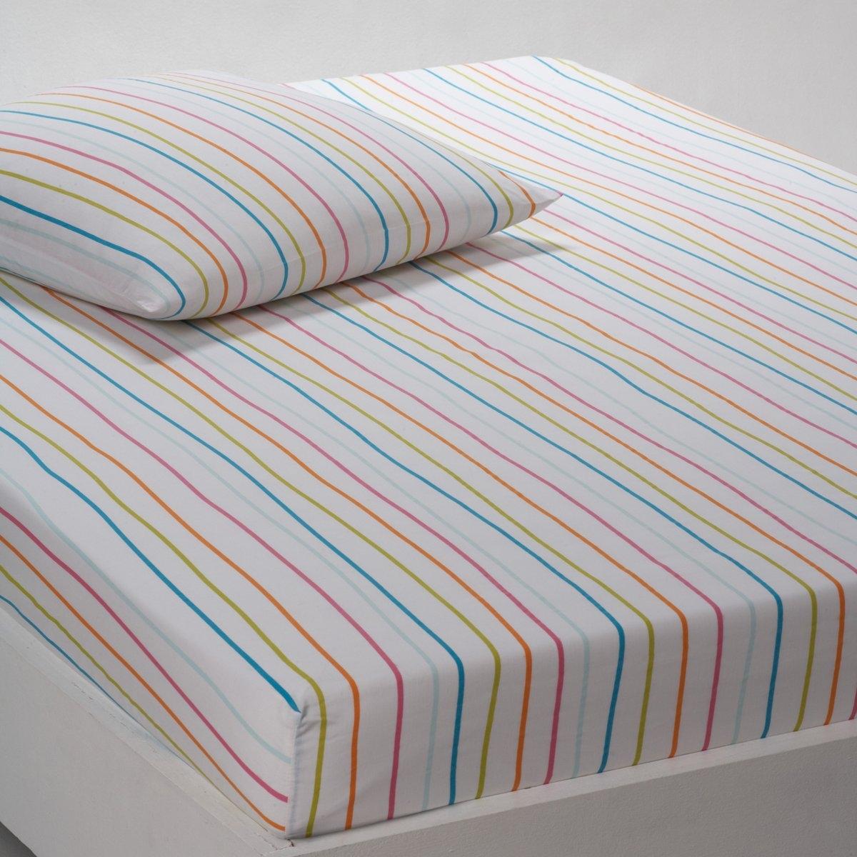 Натяжная простыня СандаВеселый комплект с разноцветными цветами! Качество Valeur S?re за ткань с плотным переплетением нитей (57 нитей/см?). 100% хлопка. В вертикальную полоску. Стирка при 60°. Размеры:  90 x 190 см : 1-сп. 140 x 190 см : 2-сп. 160 x 200 см : 2-сп.<br><br>Цвет: розовый/ зеленый<br>Размер: 140 x 190  см