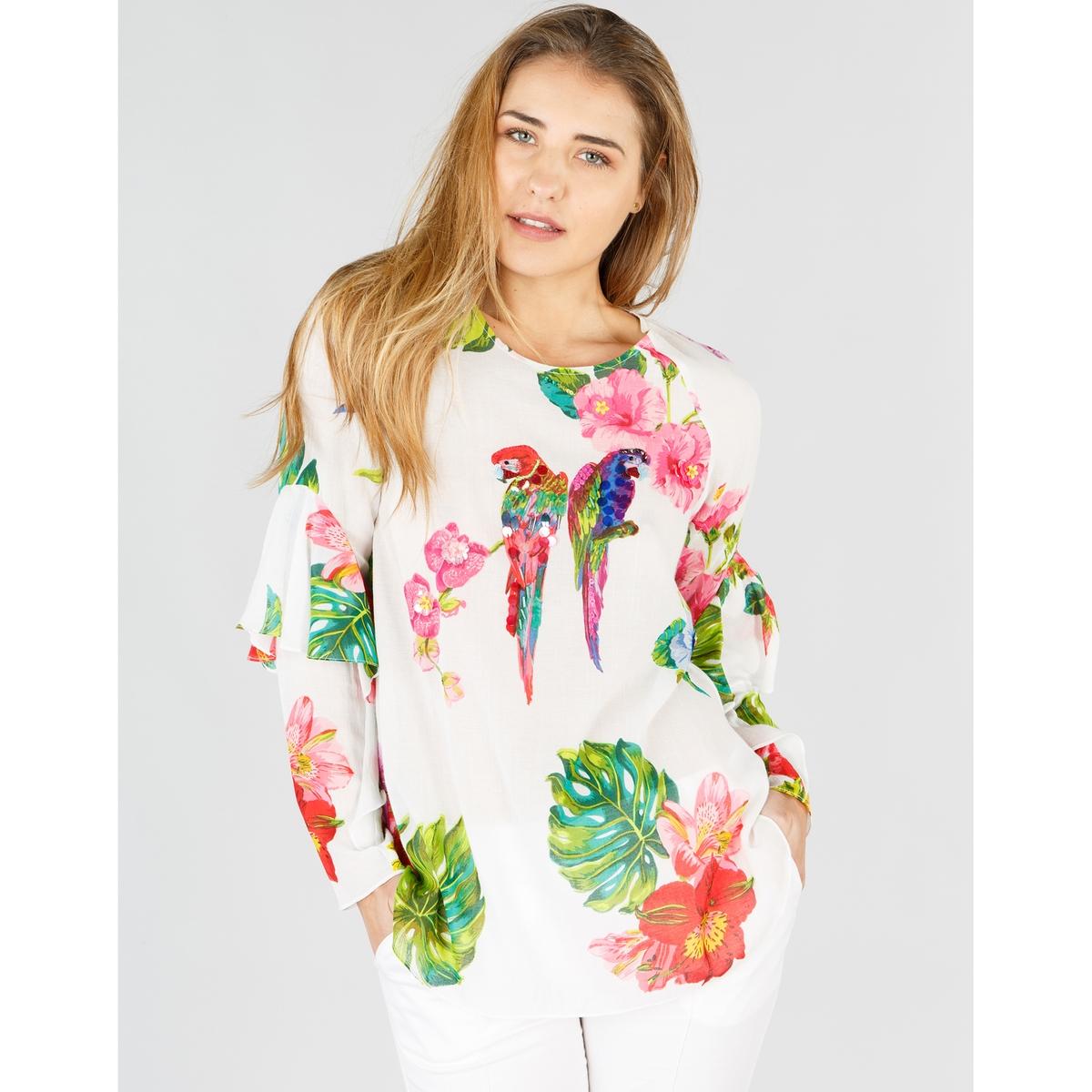 Blusa com gola redonda, estampado flores, mangas compridas