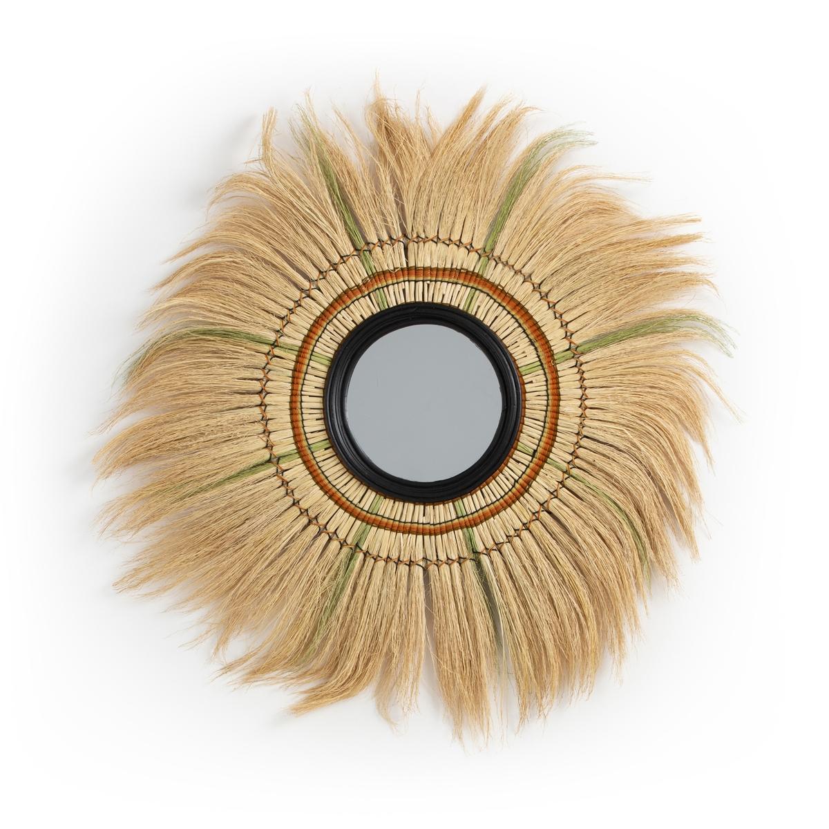 Зеркало LaRedoute С бахромой из растительного волокна 100 см Mane единый размер бежевый