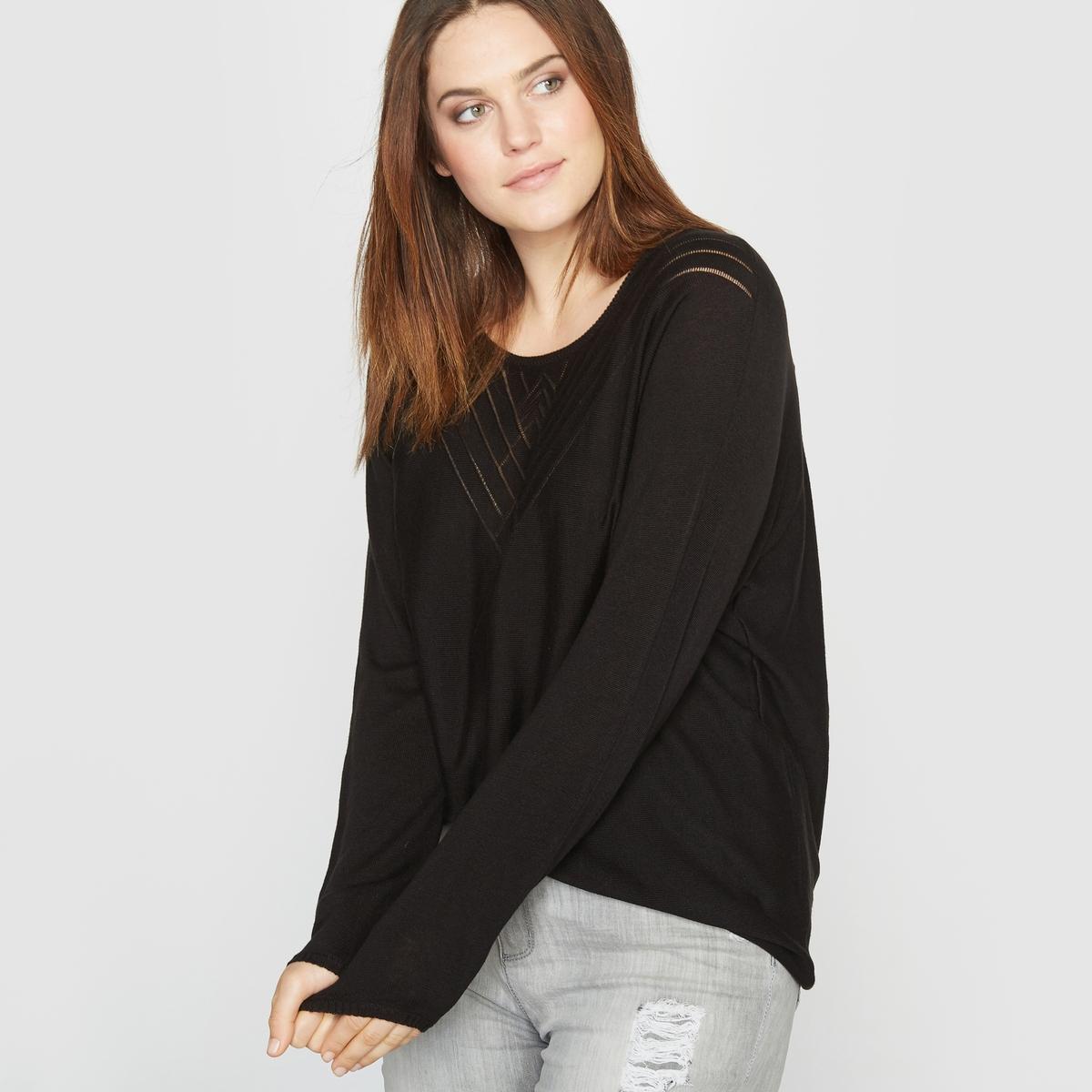 Пуловер с круглым вырезом, ажурная вязка.Состав и описание:Материал:  100% акрила.Длина: 65 см.Марка: CASTALUNA.Уход: - Машинная стирка при 40°C, деликатный режим.<br><br>Цвет: черный<br>Размер: 46/48 (FR) - 52/54 (RUS)
