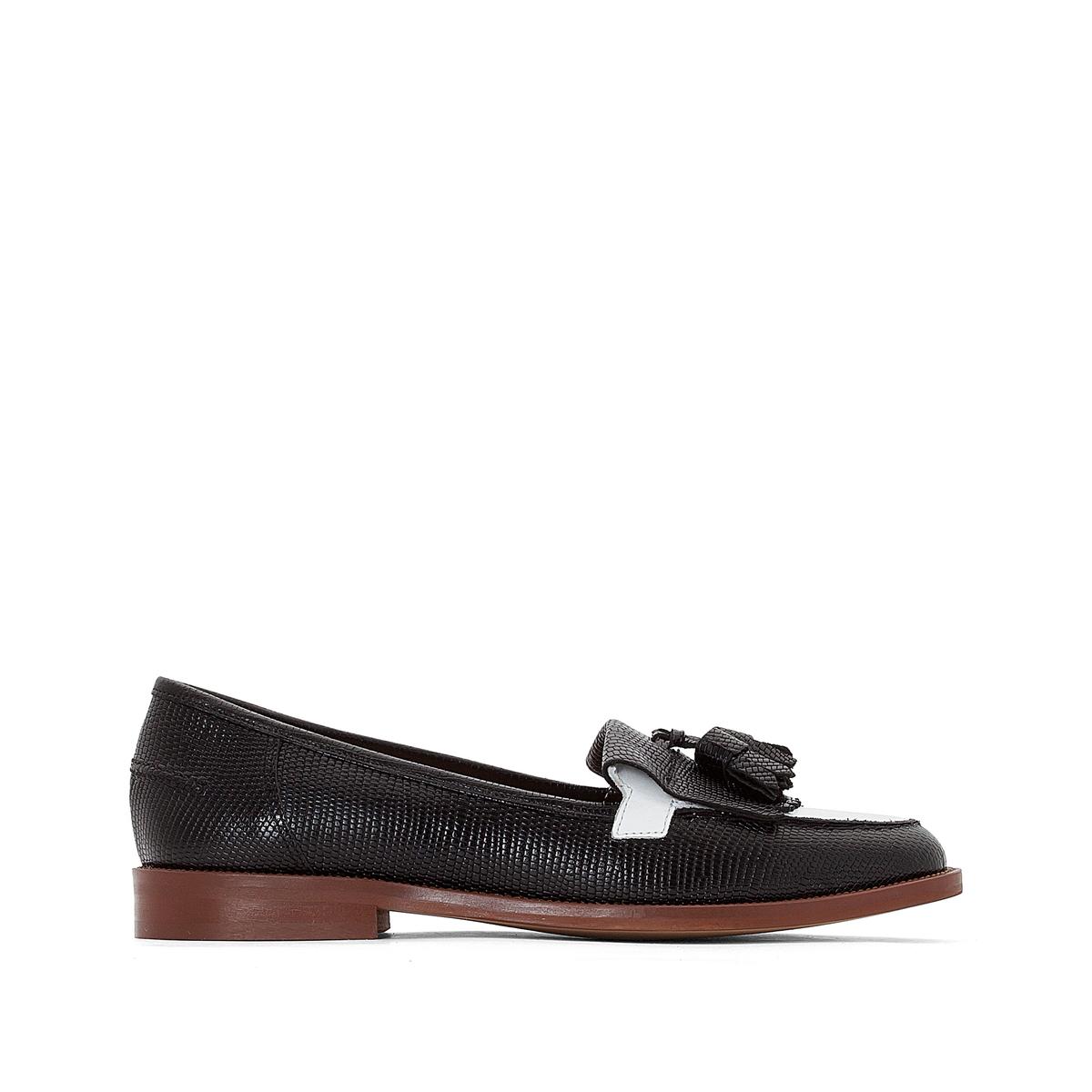Мокасины кожаные DeanneВерх : Кожа.   Подкладка : Кожа.   Стелька : Кожа.   Подошва : эластомер   Форма каблука : плоский каблук   Мысок : закругленный   Застежка : без застежки<br><br>Цвет: черный/ белый<br>Размер: 39