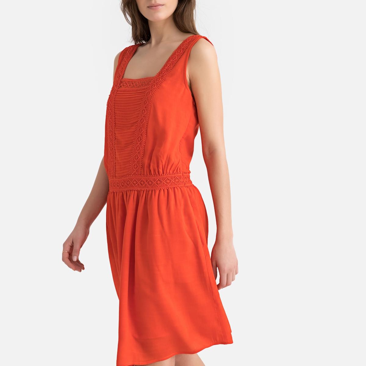 Платье La Redoute Прямое средней длины без рукавов 34 (FR) - 40 (RUS) оранжевый платье прямое средней длины однотонное без рукавов