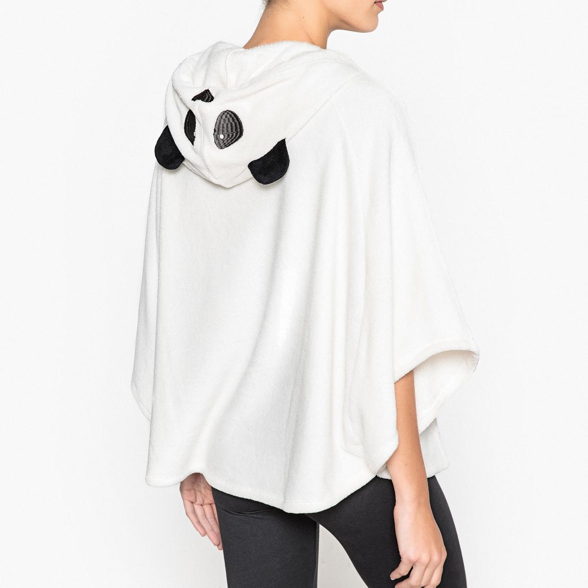 Пончо из флисаПончо в этом сезоне в почете и это очень кстати, так как у Вас есть возможность закутаться в это красивое пончо с капюшоном панда, карманом и помпонами!Состав и описаниеПончо с карманом спереди. Капюшон с ушками. Завязки с помпонамиМатериал : 100% полиэстерРазмеры : 70 смУход : Стирать с вещами схожих цветов..Стирать и сушить с изнаночной стороны<br><br>Цвет: белый<br>Размер: 42/44 (FR) - 48/50 (RUS).38/40 (FR) - 44/46 (RUS)
