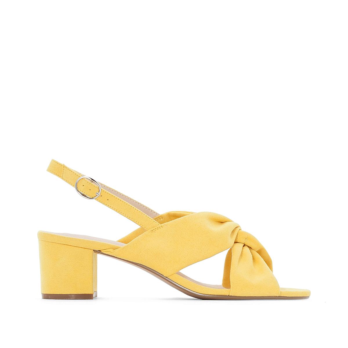 Босоножки на среднем каблуке 38-45Описание:Детали •  Широкий каблук •  Высота каблука : 5 см •  Застежка : ремешок/пряжка •  Круглый мысок •  Гладкая отделкаСостав и уход •  Верх/Голенище : 100% синтетический материал •  Подкладка : 100% синтетический материал •  Стелька : 100% кожа •  Подошва : 100% эластомер<br><br>Цвет: желтый,черный<br>Размер: 38.41.38.41.44.43.42.40.39.43.42.40