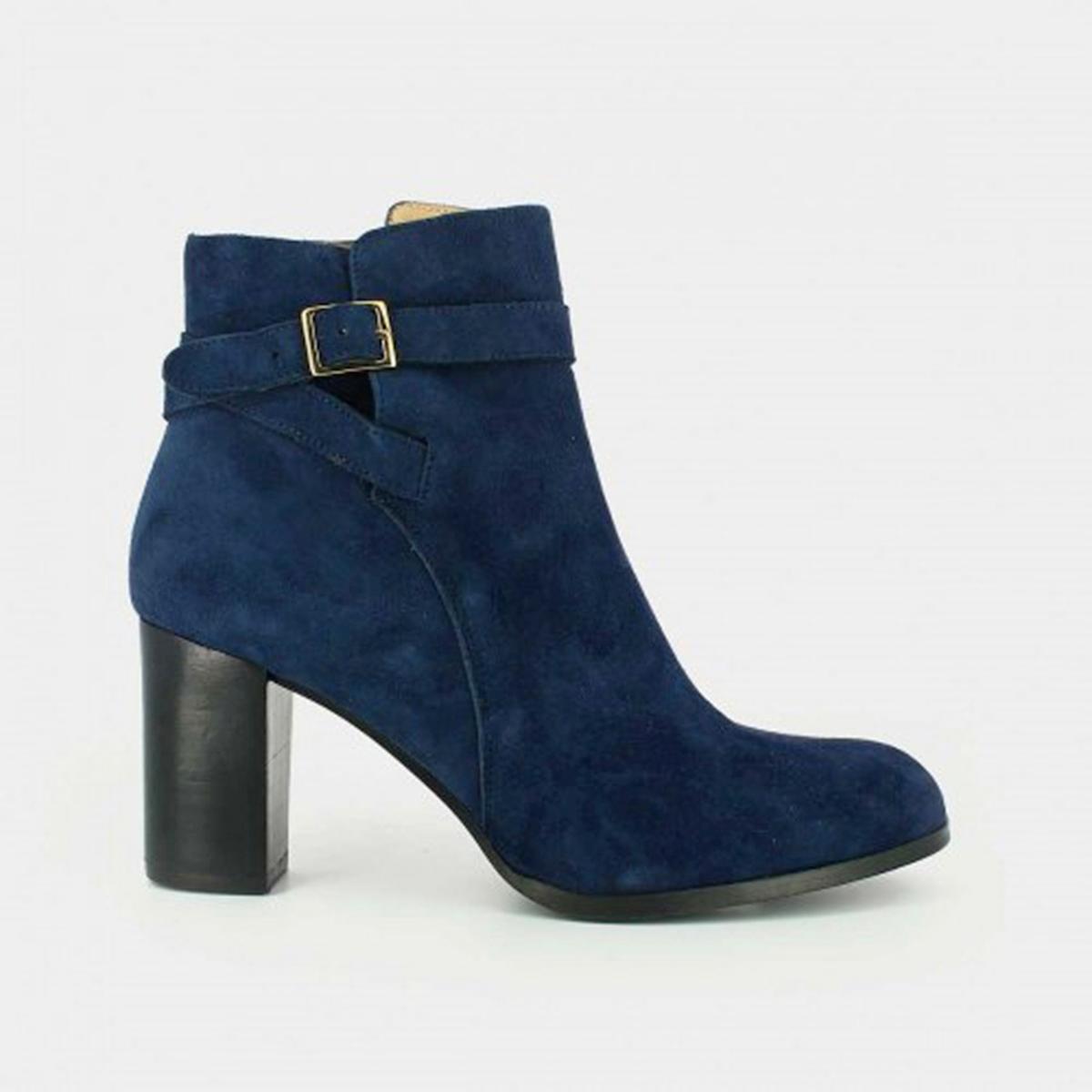 Ботильоны из велюровой кожи AkilВерх : Кожа.   Подкладка : Кожа.   Стелька : Кожа.   Подошва : эластомер   Высота каблука : 8 см   Форма каблука : квадратный.   Носок : закругленный   Застежка : молния<br><br>Цвет: синий<br>Размер: 41.38.39