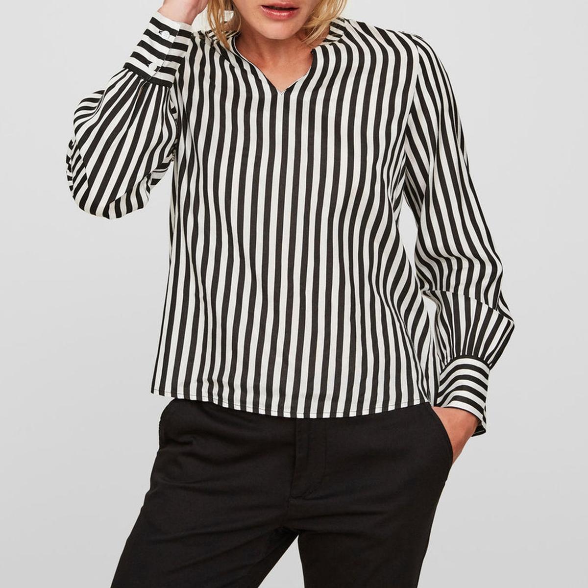 Блузка с V-образным вырезом в полоску с длинными рукавами блузка с v образным вырезом cirque