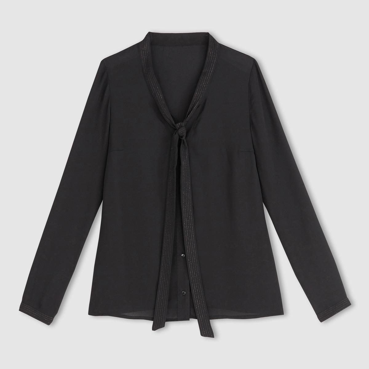 Блузка с галстукомБлузка с галстуком и длинными рукавами. Галстук на завязке. 100% полиэстера.Нашивки из металлизированной ткани. Длина ок.66 см.<br><br>Цвет: оранжевый,черный<br>Размер: 42 (FR) - 48 (RUS).42 (FR) - 48 (RUS)
