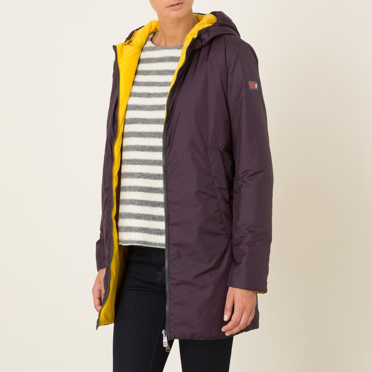 Куртка стеганая длинная двусторонняяКуртка стеганая длинная OOF - двусторонняя модель . С капюшоном . Высокий воротник. Боковые карманы реглан . Застежка на молнию. Эластичные манжеты.Состав &amp; Детали Материал : 100% полиамидМарка : OOF<br><br>Цвет: сливовый/желтый