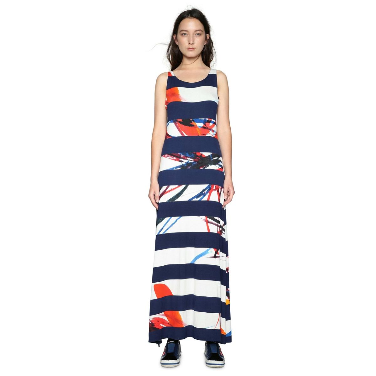 Платье прямое длинное с рисунком, без рукавов
