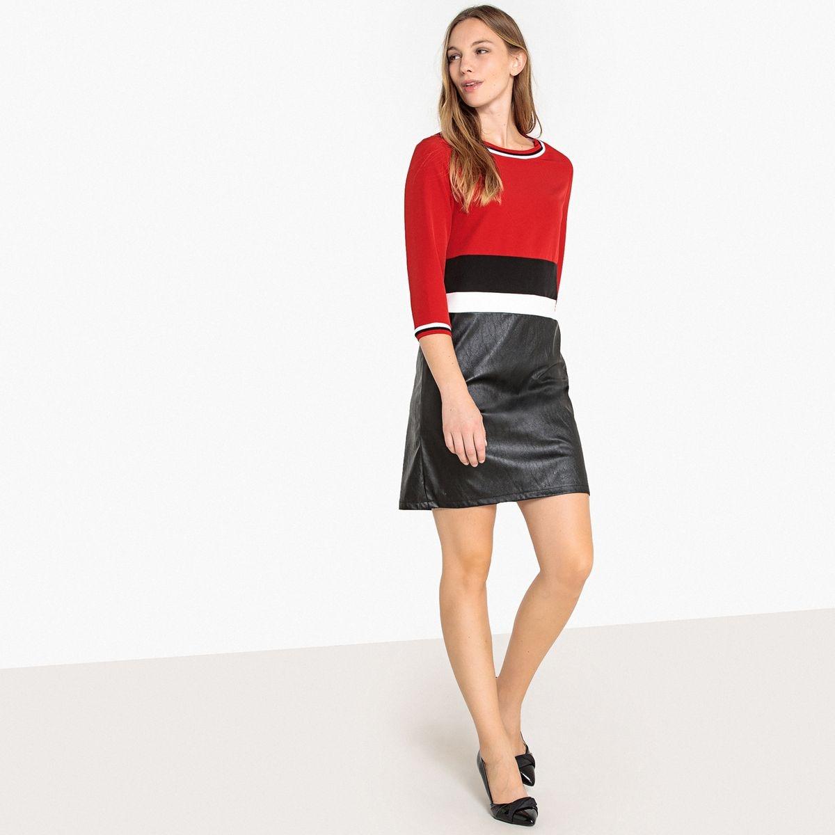 Robe color block bi-matière zippée dos