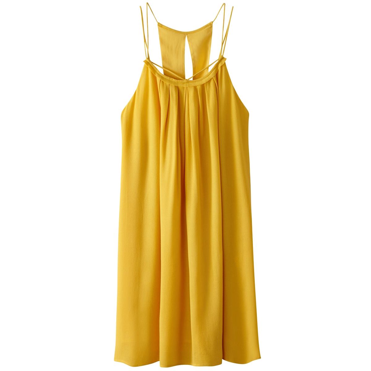 Платье короткое с тонкими бретелямиМатериал : 100% вискоза Подкладка : 100% полиэстер Длина рукава : тонкие бретели  Форма воротника : круглый вырез Покрой платья : короткое Рисунок : однотонная модель   Длина платья : короткое<br><br>Цвет: желтый,темно-синий