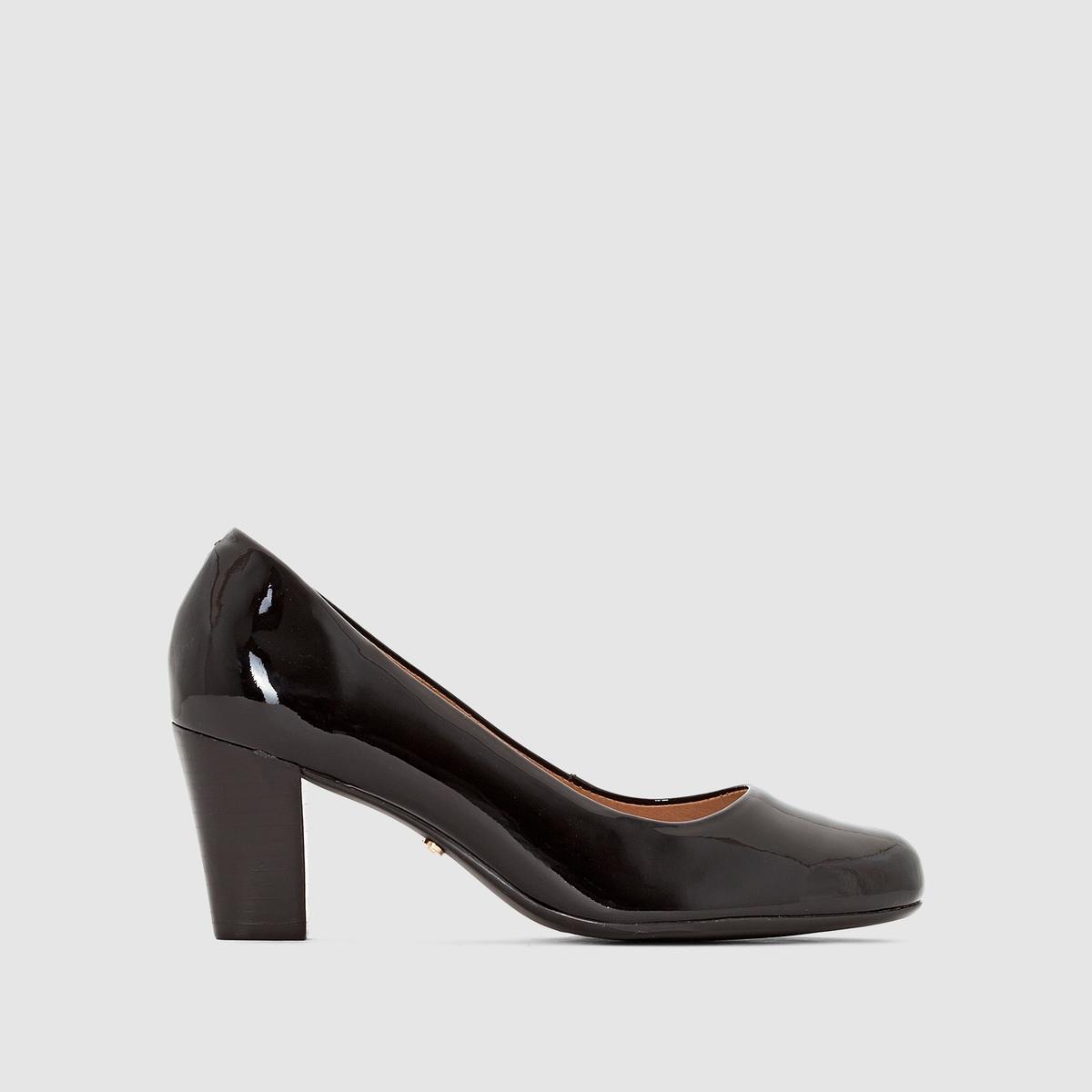 Туфли лакированные кожаные AlegriaМатериал внешний/внутрений : Кожа         Подкладка : Кожа   Подошва: КаучукВысота каблука: 5 смФорма каблука : ШирокийНосок : ЗакругленныйЗастежка: без застежки<br><br>Цвет: черный<br>Размер: 37