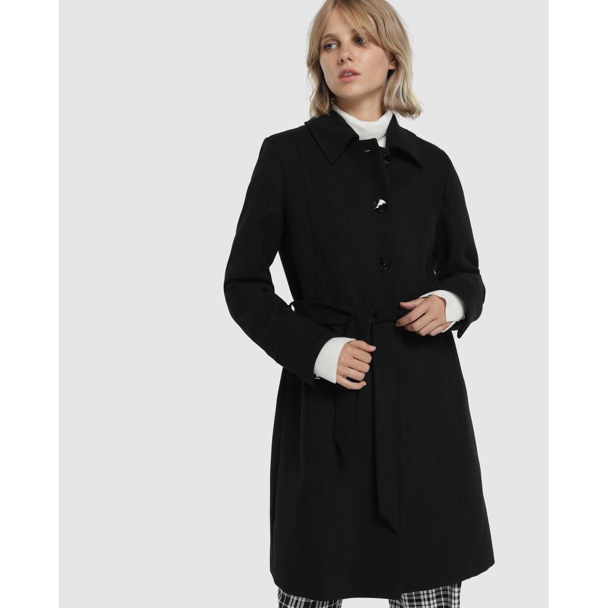 Manteau rangée de boutons ceinture
