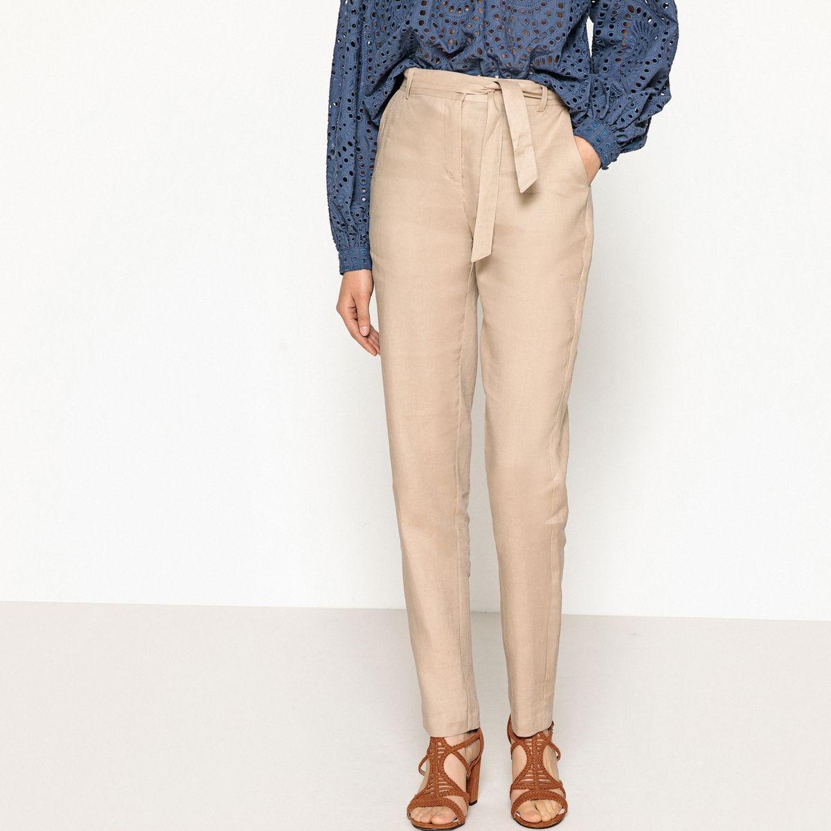 Pantalon droit taille haute pur lin