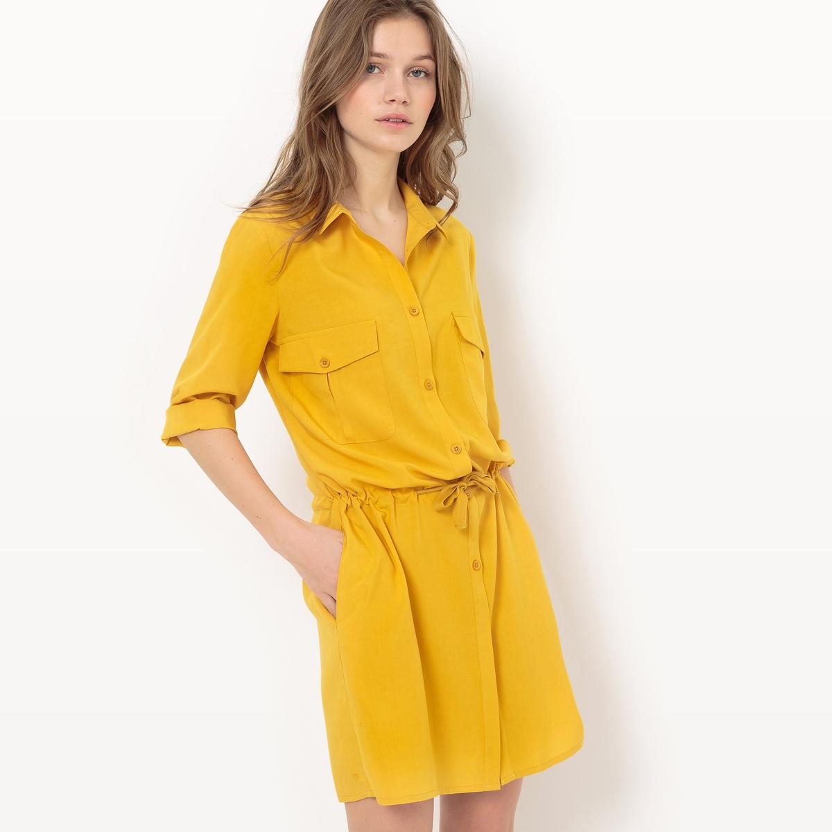 Платье-сафари, рукава 3/4Материал : 100% вискоза             Длина рукава : длинные рукава            Особенность пояса : эластичный пояс            Форма воротника : воротник-поло, рубашечный            Покрой платья : До колен, 95 см для размера 38            Рисунок : однотонная модель             Особенность платья : глубокий вырез сзади            Длина платья : до колен            Стирка : машинная стирка при 30 °С            Уход: : гладить при умеренной температуре / отбеливание запрещено            Машинная сушка : Машинная сушка запрещена            Глажка : Сухая (химическая) чистка запрещена<br><br>Цвет: желтый охровый,черный<br>Размер: 48 (FR) - 54 (RUS).46 (FR) - 52 (RUS).36 (FR) - 42 (RUS)