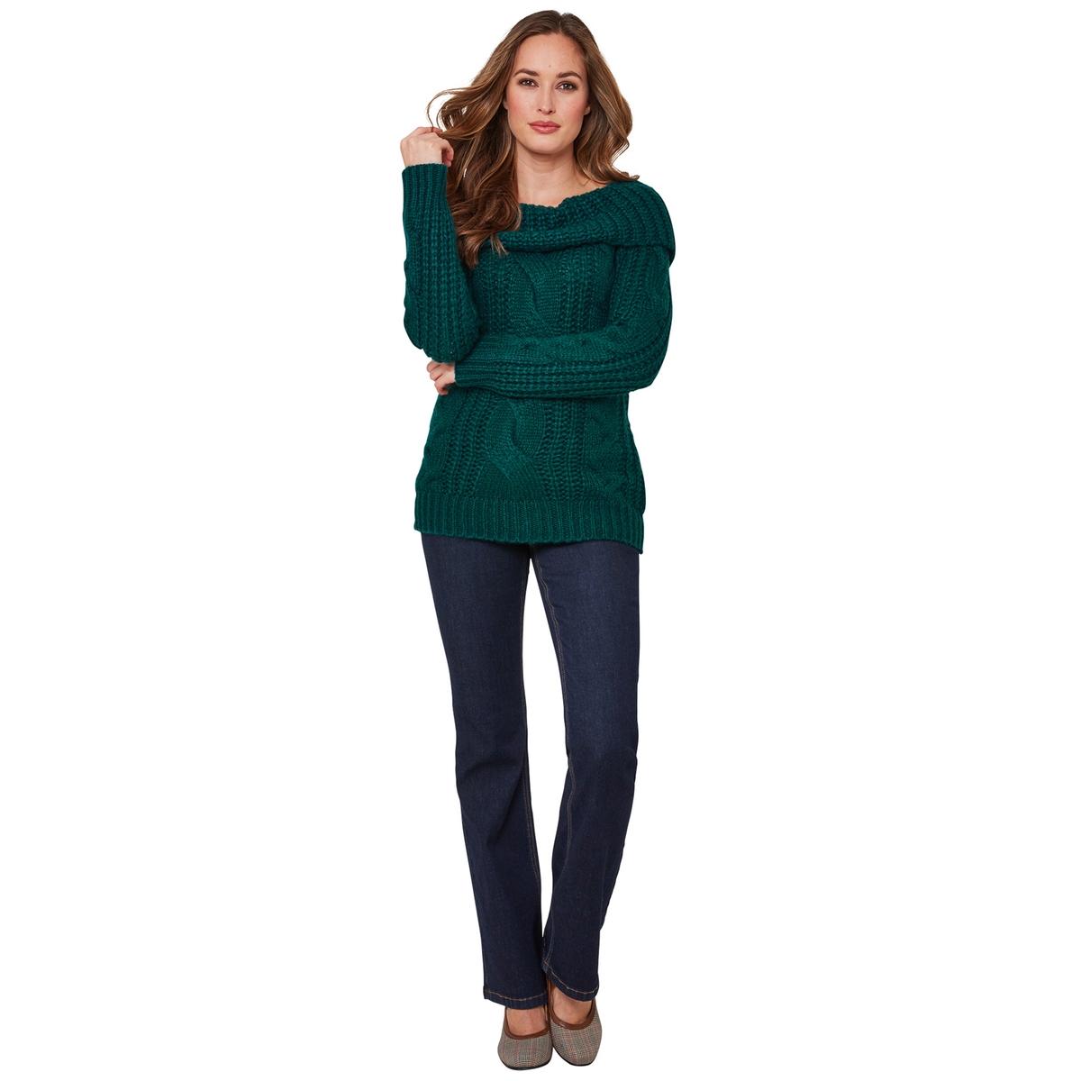 Пуловер La Redoute С открытыми плечами из плотного трикотажа с узором косы 44 (FR) - 50 (RUS) зеленый платье la redoute облегающее с открытыми плечами из тонкого трикотажа xs черный