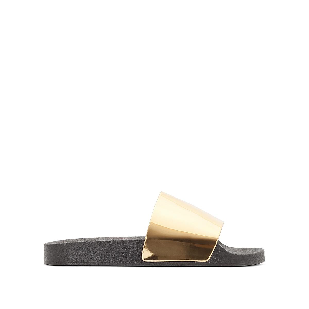 Туфли без задника MirorОписание:Детали •  Туфли без задника •  Высота каблука : 1 см •  Застежка : без застежки •  Открытый мысок •  Гладкая отделкаСостав и уход •  Верх 100% ЭВА •  Стелька 100% ЭВА •  Подошва 100% ЭВА<br><br>Цвет: золотистый