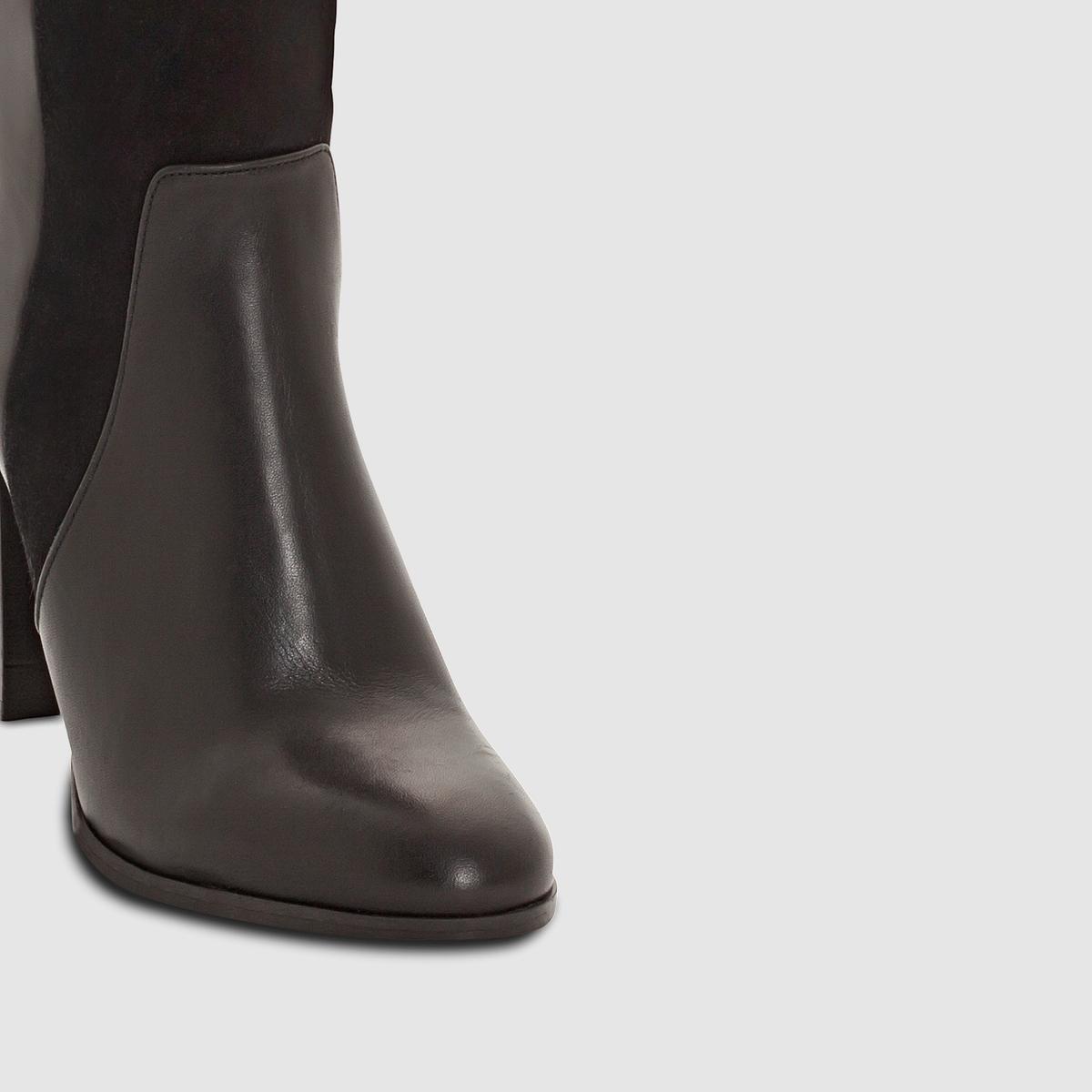 Сапоги ARAXIМарка : JONAK.Верх : спилок (яловичная кожа)Подкладка : кожа.Стелька : кожа.Подошва : из эластомера.Высота каблука : 8 смФорма каблука : ПРЯМОЙ  Мысок : ПРЯМОЙ<br><br>Цвет: черный