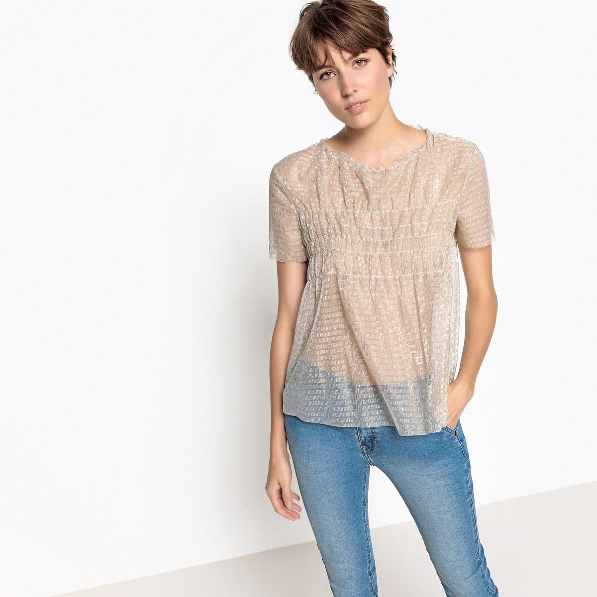 Блузка из блестящей вуали с короткими рукавами