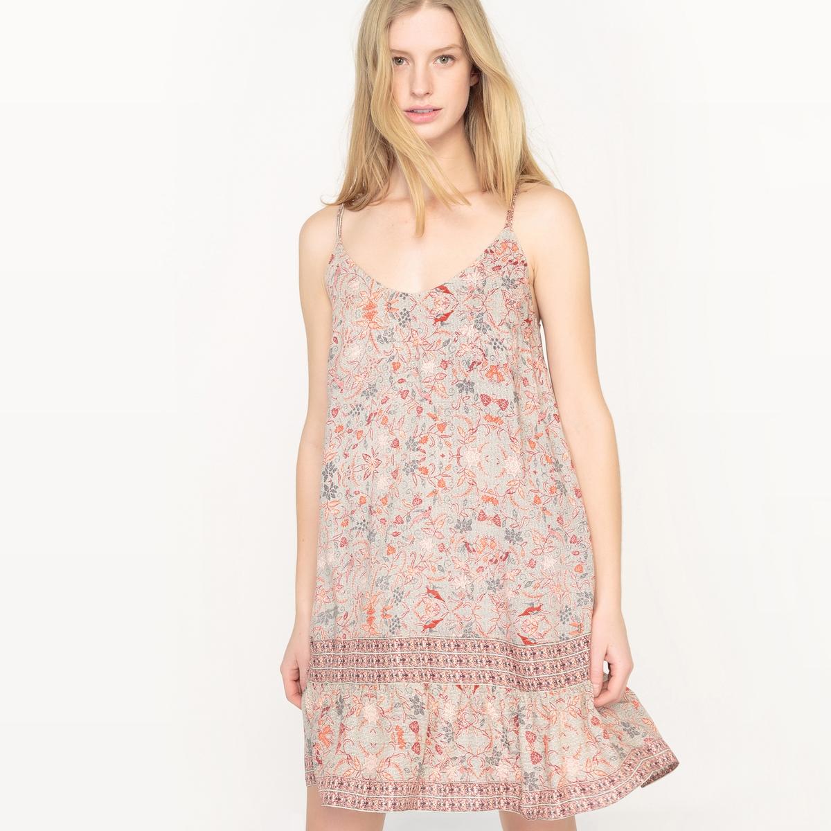 Платье на тонких бретелях с цветочным рисунком цена 2016