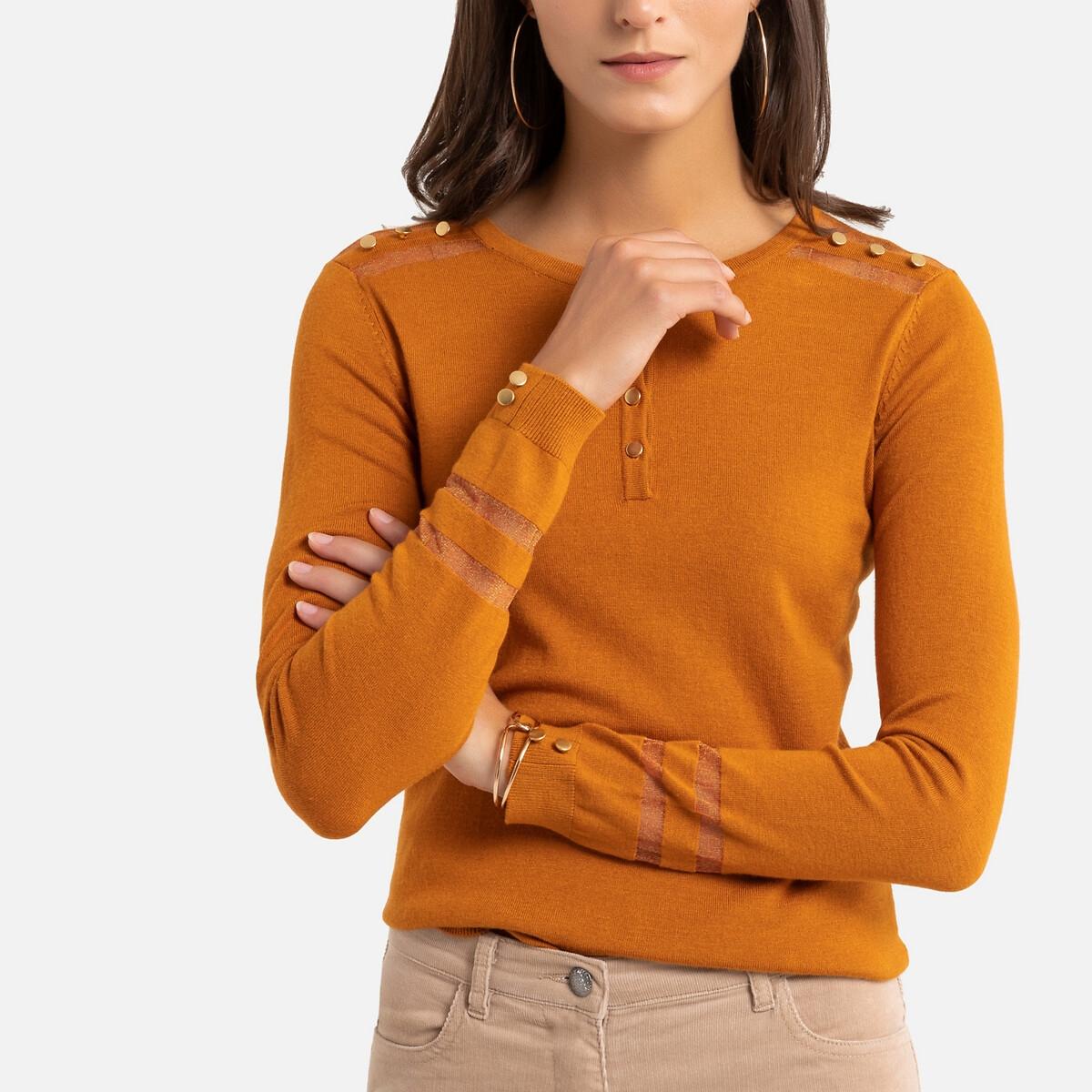 Пуловер La Redoute С V-образным вырезом из тонкого трикотажа 46/48 (FR) - 52/54 (RUS) желтый
