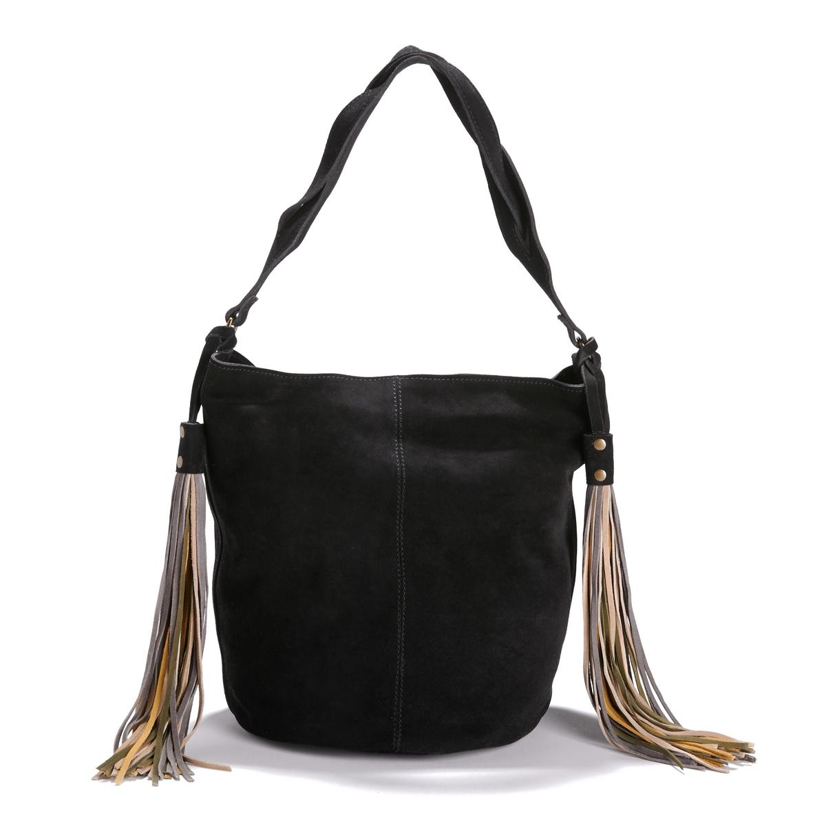 Сумка с помпонамиОписание:Красивая кожа и нежная форма, 2 помпона с длинной бахромой : стильная сумка из кожи, сочетается с джинсами и изысканнами нарядами  !Состав и описание : •  Внешний материал : замша (яловичная кожа). 2 кармана на молнии спереди •  Подкладка : хлопок •  Размер  : H31 X L37 X P21,5 см  •  Застежка : кнопка на магните •  Внутренние карманы : 1 карман для мобильного телефона  •  Нерегулируемый и несъемный ремешок<br><br>Цвет: темно-бежевый,черный<br>Размер: единый размер