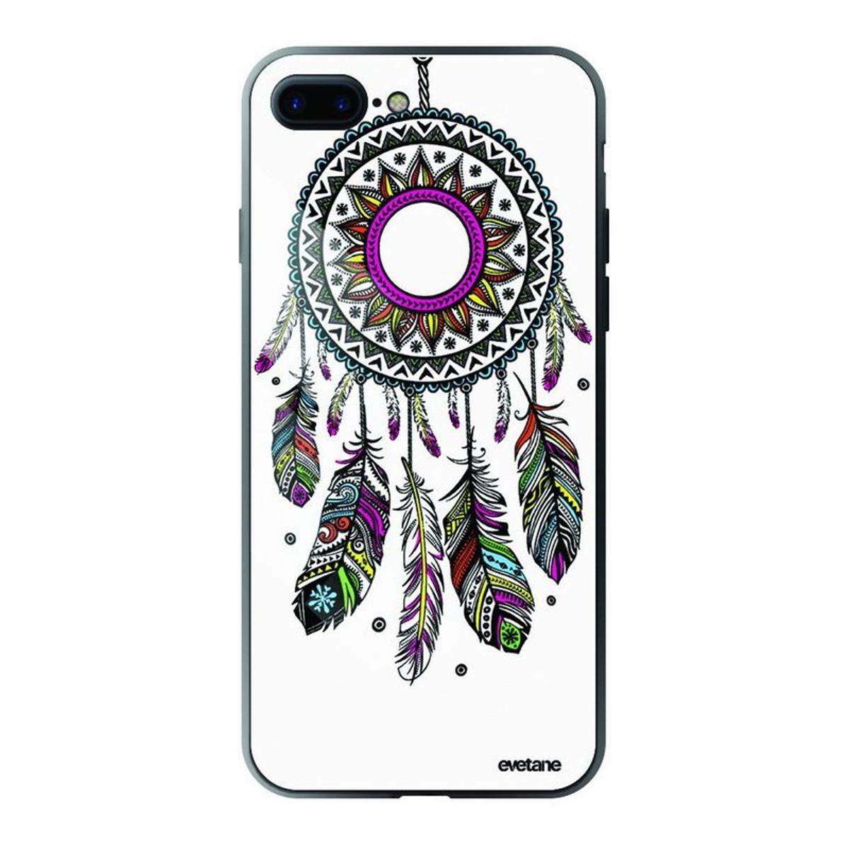 Coque iPhone 7 Plus / 8 Plus verre trempé bord noir, Attrape rêve, Evetane®