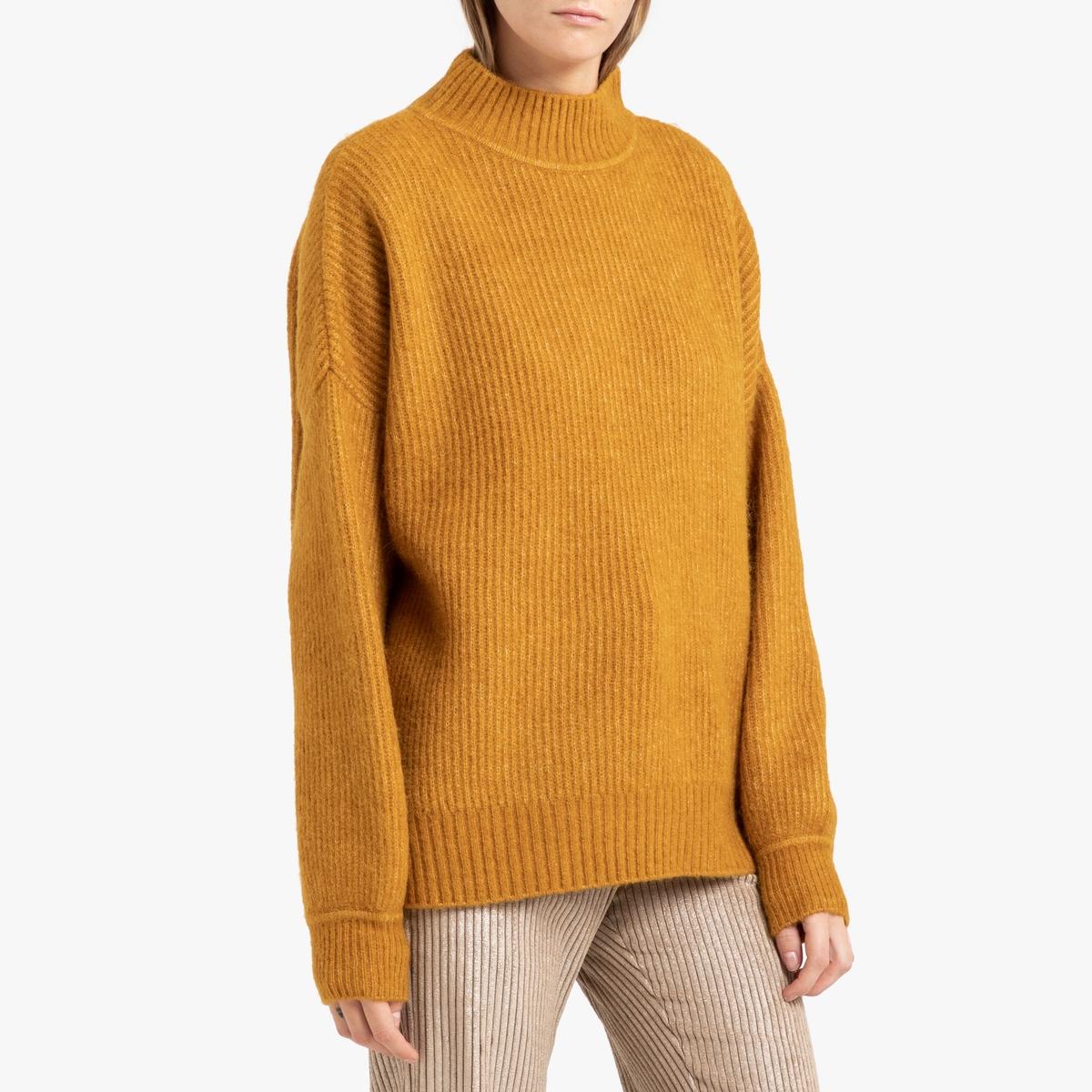 Пуловер La Redoute Длинный с воротником-стойкой из трикотажа PITKIN S желтый цена и фото