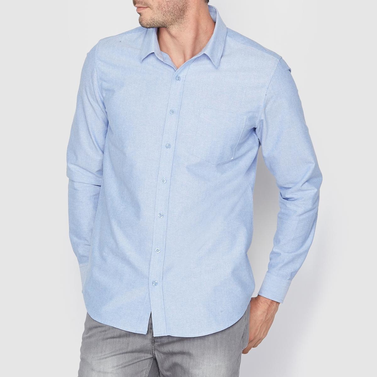 Рубашка из ткани оксфорд прямого покрояРубашка из ткани оксфорд прямого покроя 100% хлопка  . Длинные рукава, свободные уголки воротника. Нагрудный карман. Контрастная отделка в форме полу-круга в центре изделия и на манжетах  .<br><br>Цвет: небесно-голубой<br>Размер: 35/36