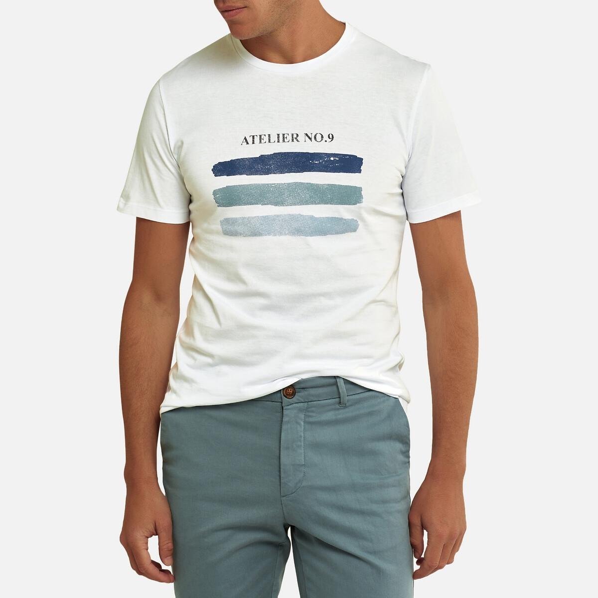Футболка La Redoute С круглым вырезом короткие рукава с принтом спереди S белый футболка la redoute с круглым вырезом и принтом спереди 3 года 94 см серый