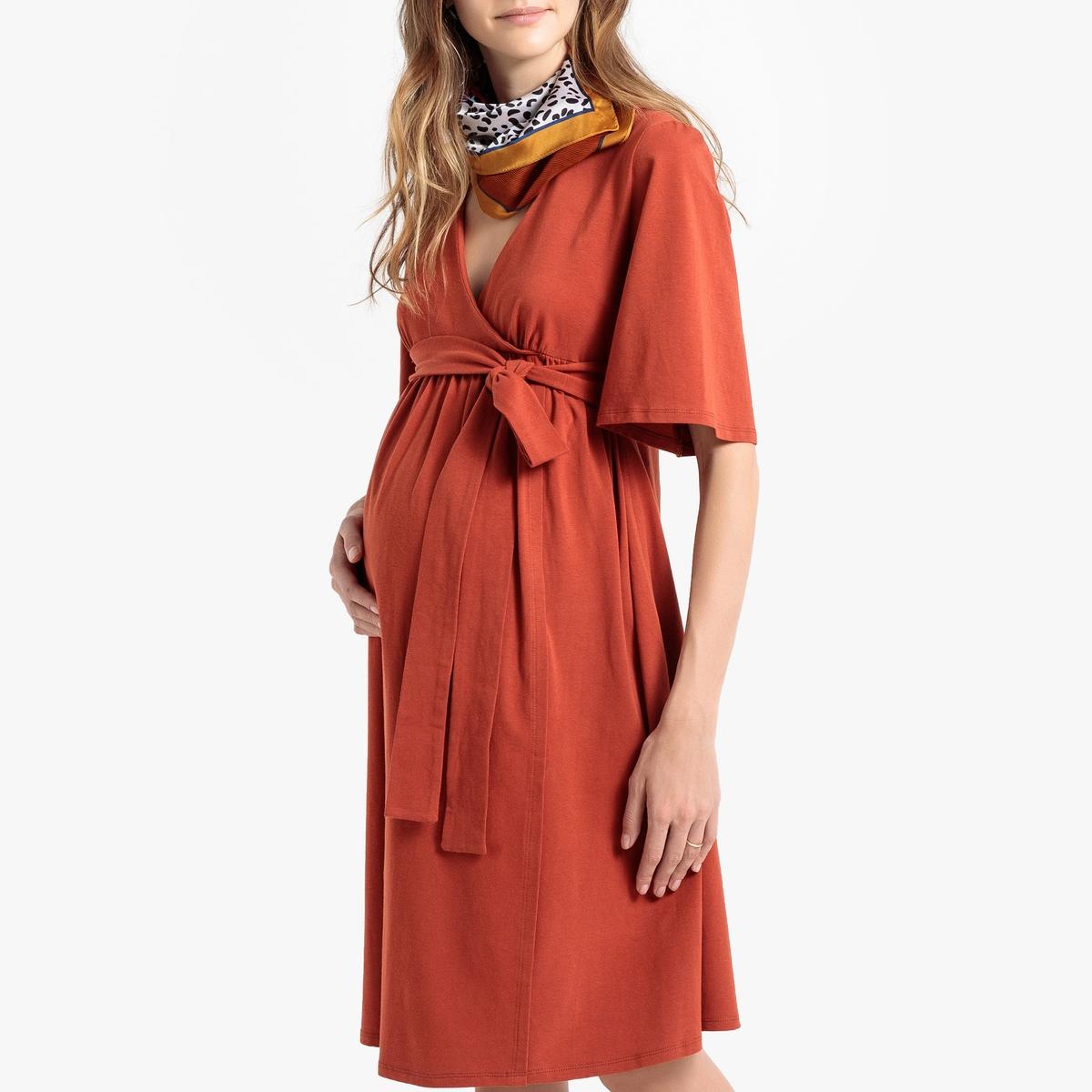 Платье La Redoute Для периода беременности с запахом S красный платье la redoute из трикотажа для периода беременности s другие