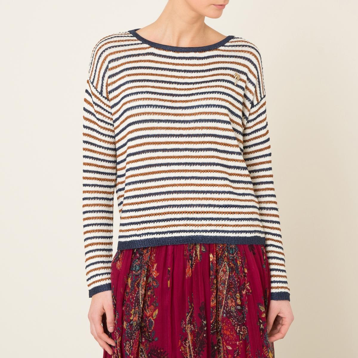 Пуловер ажурный в полоскуСостав и описание    Материал : 60% хлопка, 40% полиэстера   Марка : MAISON SCOTCH<br><br>Цвет: разноцветный