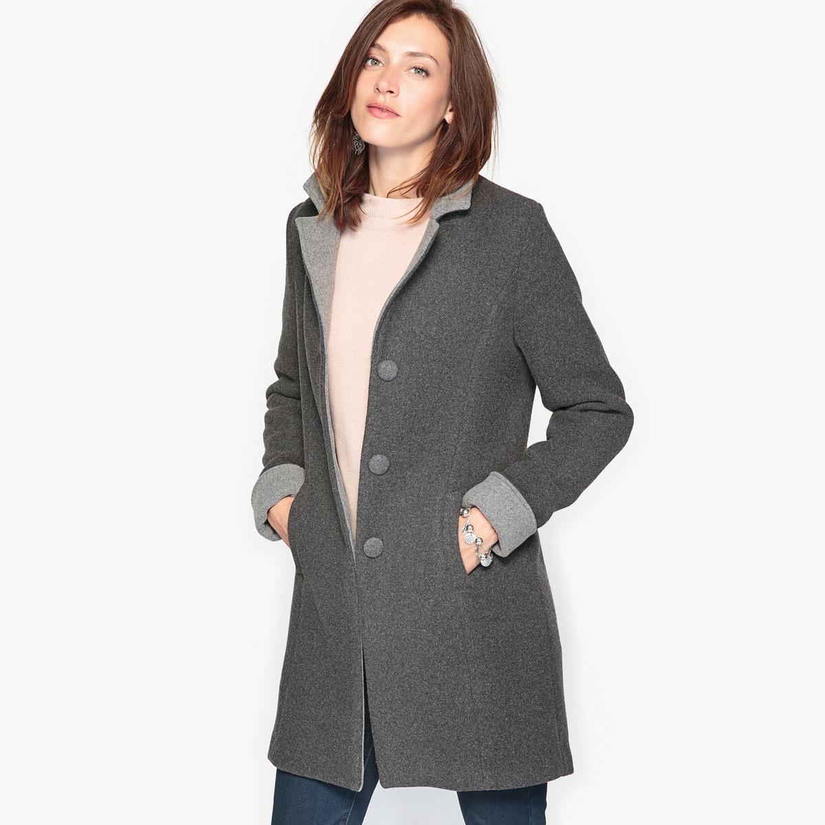 Пальто прямого покроя пальто прямого покроя с кожаной деталью gloria
