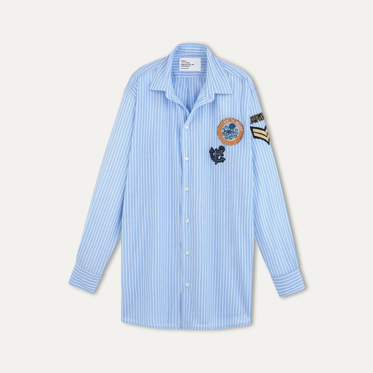 Рубашка CHILLOСостав и описание    Материал: вуаль 100% хлопок   Марка: LEON AND HARPER<br><br>Цвет: синий<br>Размер: S.M