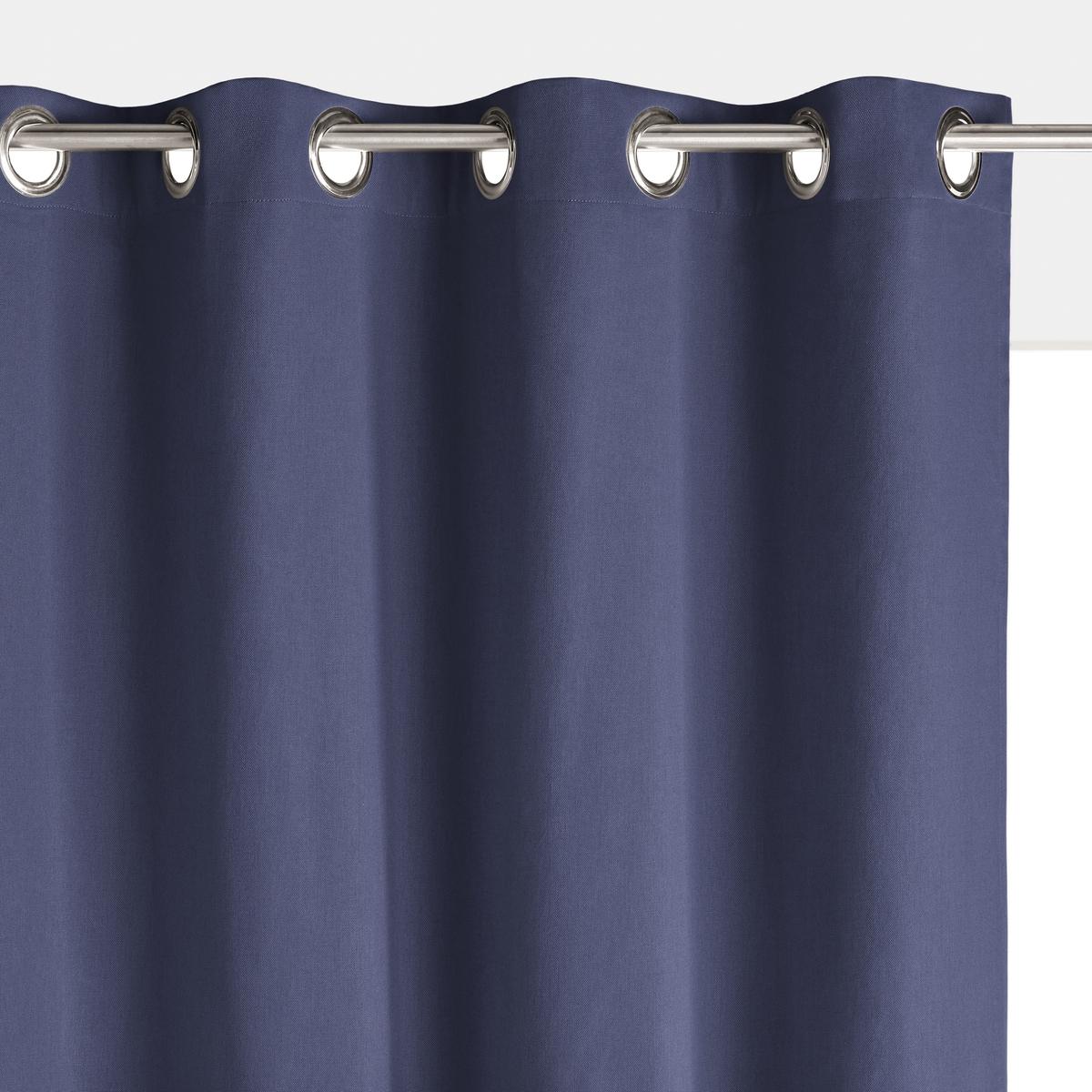 Штора La Redoute Затемняющая с люверсами из хлопка SCENARIO 350 x 135 см синий штора с люверсами 100% хлопок aron