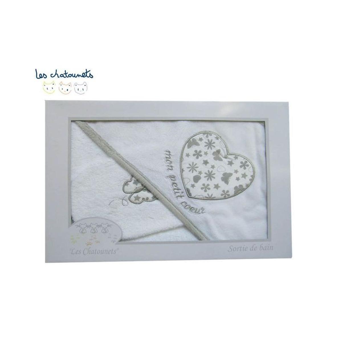 Cape de bain+ gant en coffret Mon petit coeur