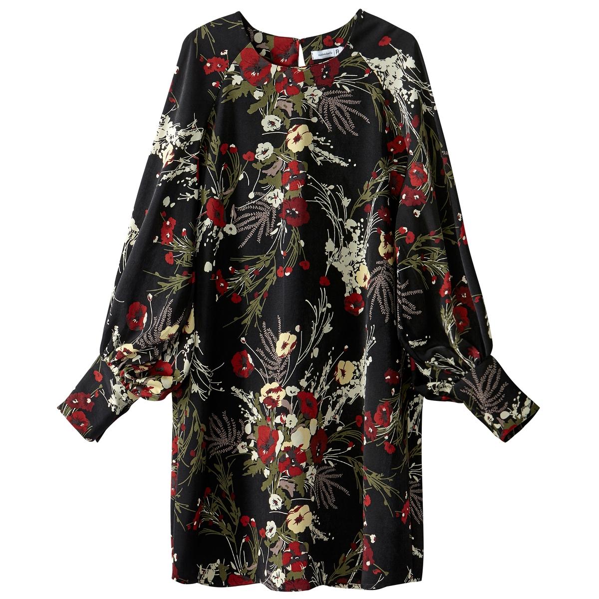 Платье короткое прямое с цветочным рисунком, с длинными рукавами платье с запахом длинными рукавами и цветочным рисунком