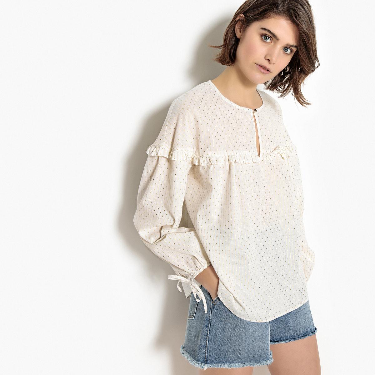 Блузка свободного покроя с вышивкой нитями с металлическим блеском золотистого цвета