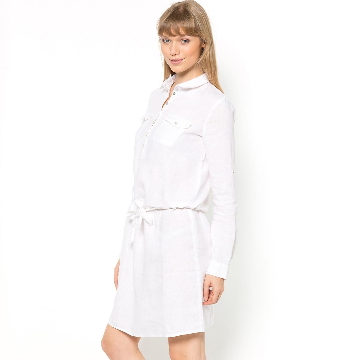 Платье R ESSENTIEL, 100% льнаИдеальный материал для лета! 100% льна. Прямой покрой, пояс на кулиске с завязками. Длинные рукава можно отворачивать. Манжеты с пуговицами. Нагрудные карманы. Слегка закругленный низ. Длина ок.95 см.<br><br>Цвет: белый