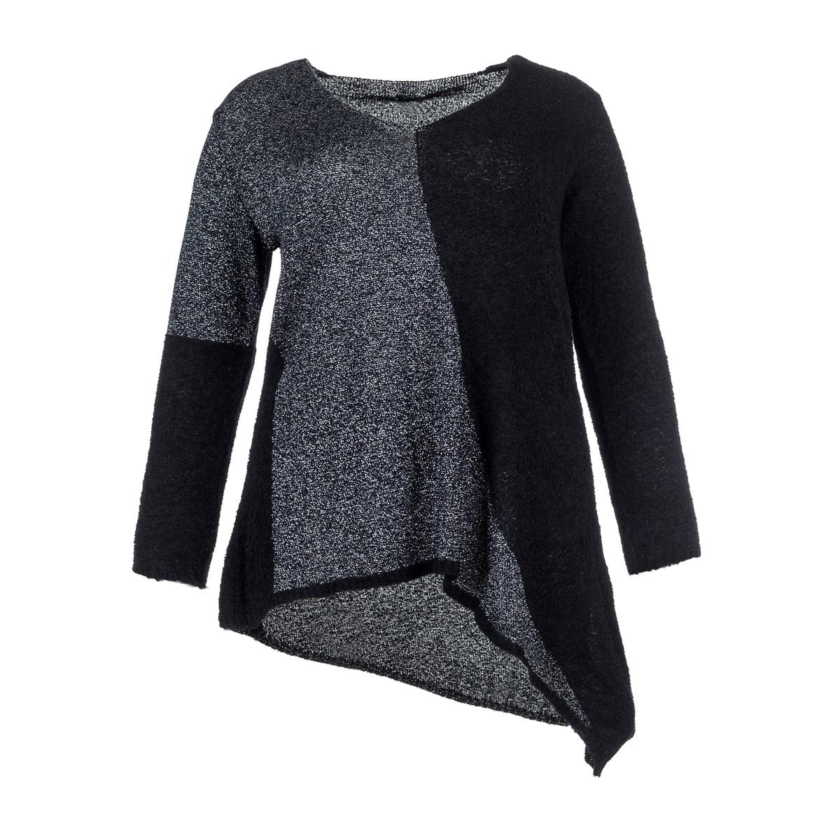 ПуловерАсимметричный пуловер с черным низом и металлизированными нитями сбоку и на рукаве . Длинные рукава.<br><br>Цвет: черный/серый