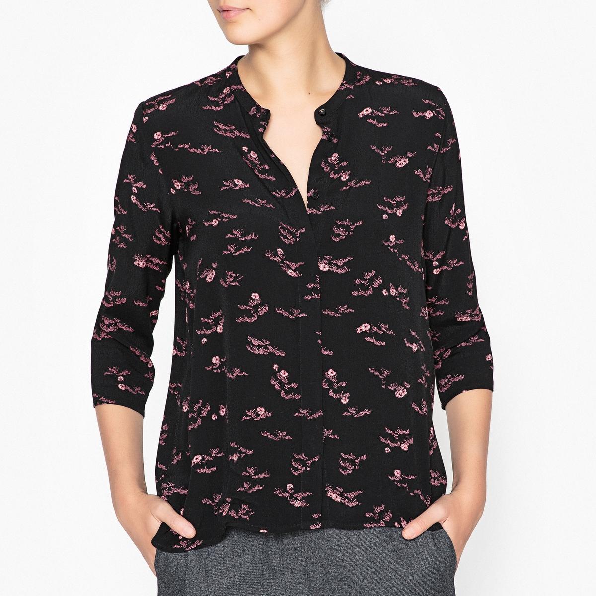 Рубашка с рисунком SIXРубашка с рисунком SESSUN - модель SIX из струящейся ткани с застежкой на пуговицы и рукавами 3/4.Детали •  Длинные рукава •  Прямой покрой  •  Без воротника •  Рисунок-принтСостав и уход •  100% вискоза •  Следуйте советам по уходу, указанным на этикетке<br><br>Цвет: черный