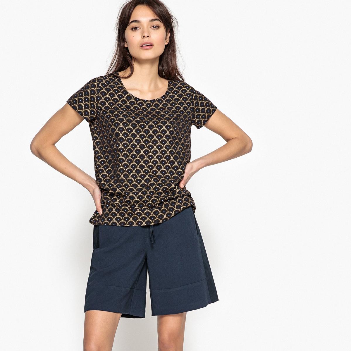 Блузка с круглым вырезом, графическим рисунком и короткими рукавами