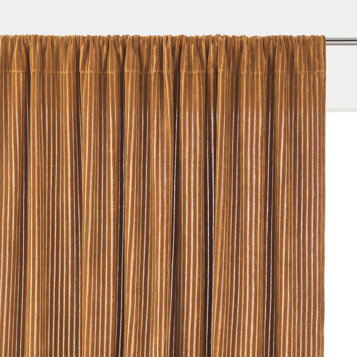 Штора LaRedoute Из рифленого велюра Corduroy 250 x 135 см каштановый