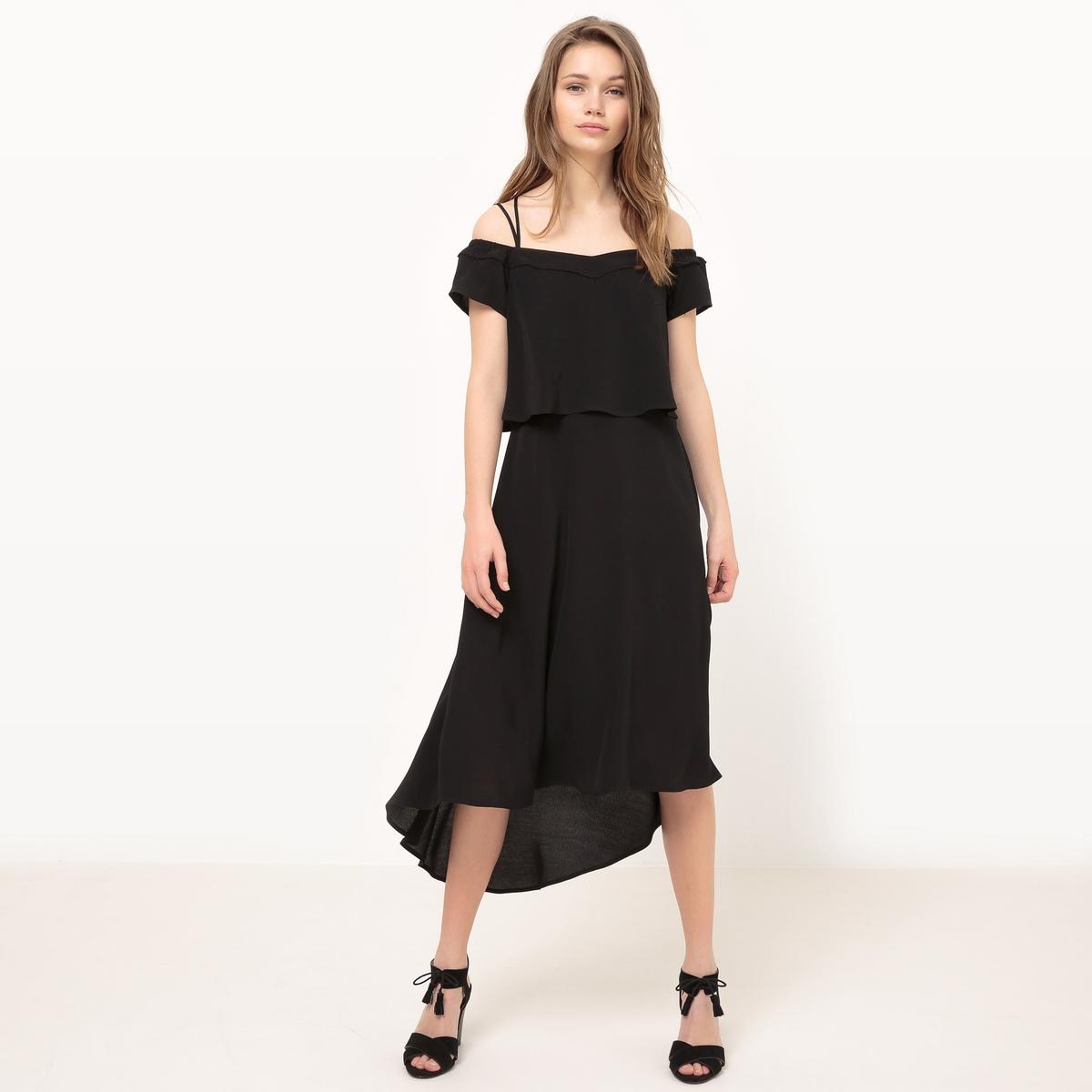 Платье для церемоний средней длины на тонких бретелях платья monoroom платье one color