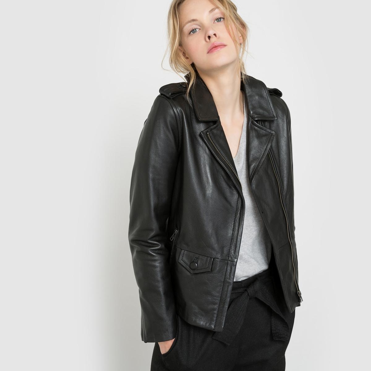 Блузон кожаныйБлузон кожаный. Асимметричная застежка на молнию. 2 боковых кармана и 1 нагрудный карман на молнии. Планки на плечах. Состав и описание : Материал : Кожа (яловичная)Подкладка : 100% полиэстерДлина : 60 смМарка : R studio<br><br>Цвет: охра,черный