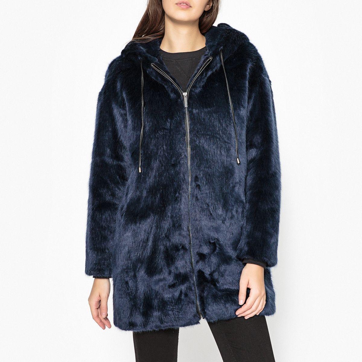Manteau à capuche en tissu aspect fourrure OMONADE