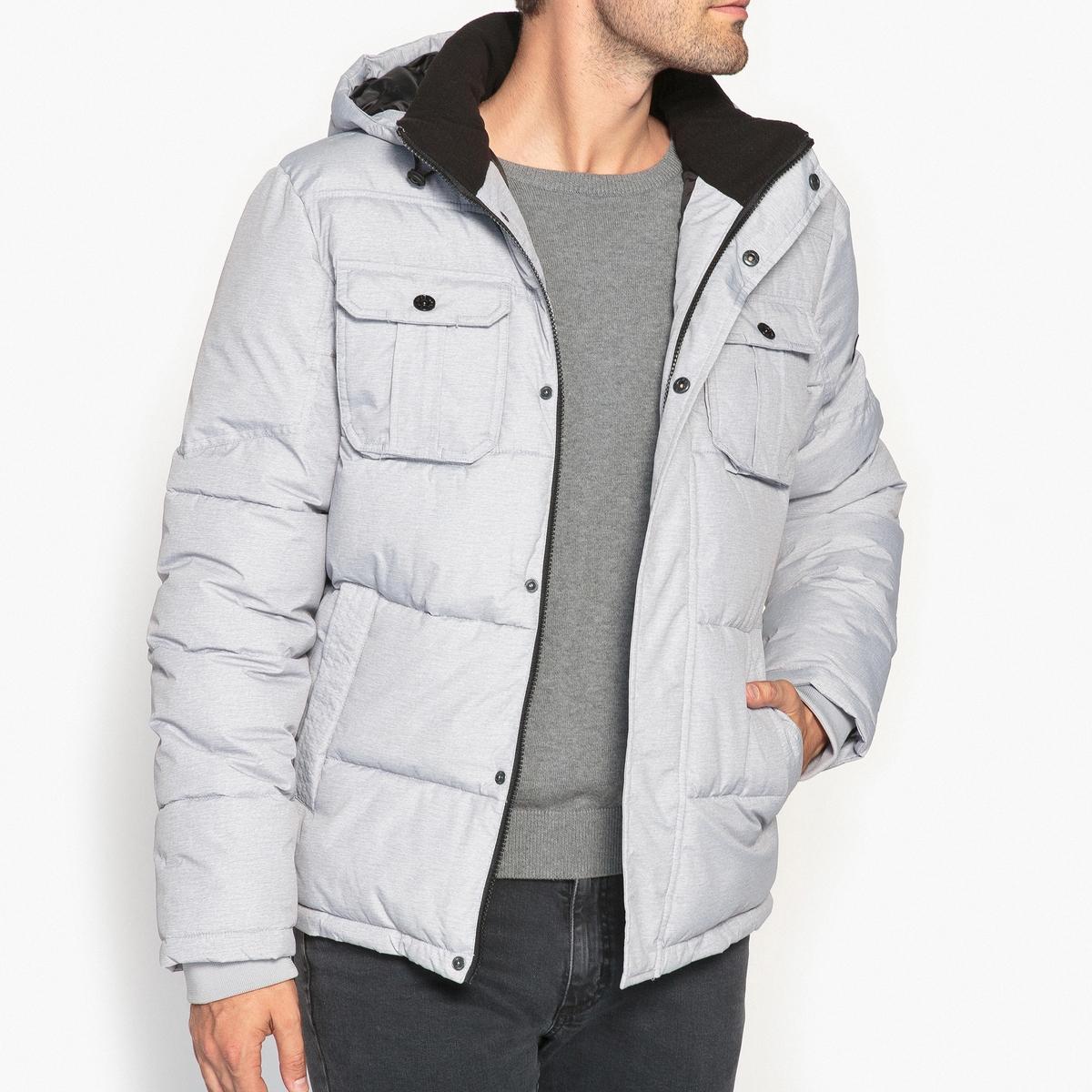 Куртка стеганая с капюшономДетали •  Длина : укороченная   •  Капюшон  •  Застежка на молнию •  С капюшоном Состав и уход •  100% полиэстер •  Следуйте советам по уходу, указанным на этикетке<br><br>Цвет: серый меланж<br>Размер: L