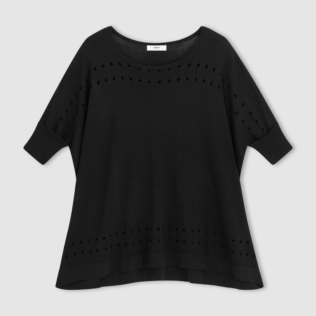 Пуловер ажурныйПуловер ажурный SUNCOO . Легкий ажурный трикотаж на рукавах, внизу и вокруг выреза-лодочки .Состав и описаниеМатериал 65% вискозы, 35% полиамида Марка SUNCOO<br><br>Цвет: черный<br>Размер: M