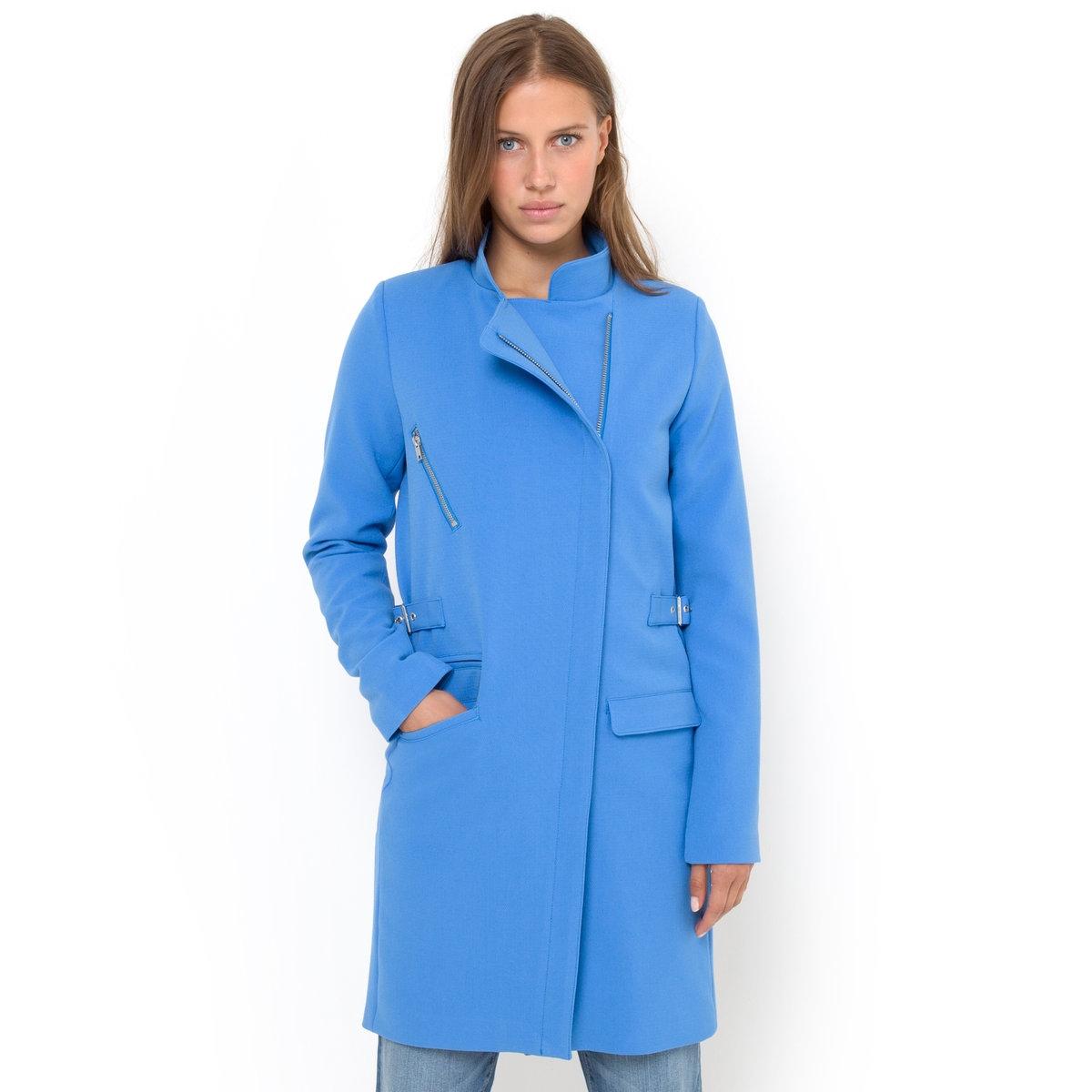 Пальто на молнии2 планки с пряжками на поясе. Складка сзади.Длина 90 см.<br><br>Цвет: синий