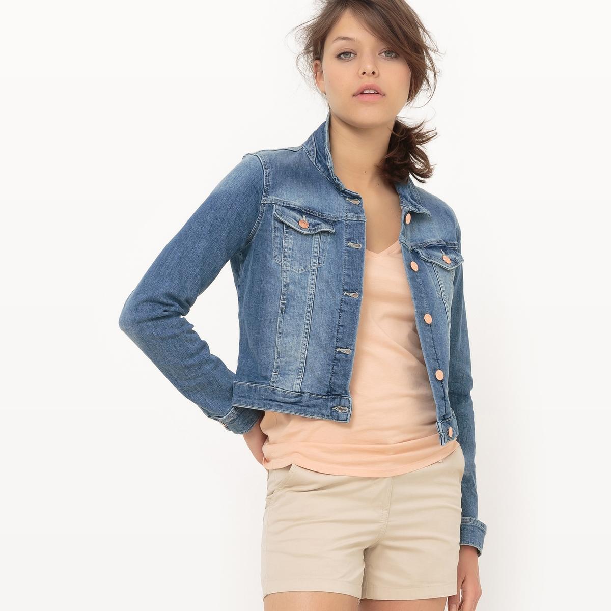 Жакет короткий джинсовыйМатериал : 99% хлопка, 1% эластана Покрой : прямой Форма воротника : без воротника Тип жакета   : широкий Длина жакета   : укороченная модель Рисунок : Однотонная модель<br><br>Цвет: синий вытертый